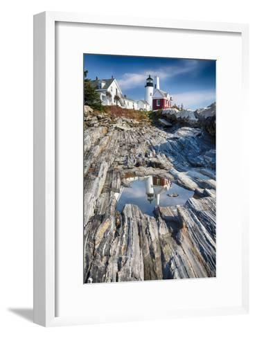 Lighthouse Reflection, Pemaquid Point, Maine-George Oze-Framed Art Print