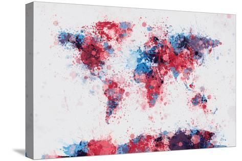 World Map Paint Splashes-Michael Tompsett-Stretched Canvas Print