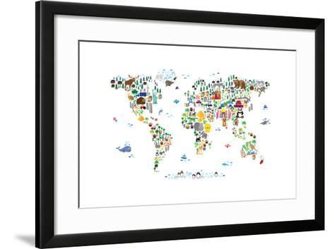 Animal map of the world art print by michael tompsett the new art animal map of the world michael tompsett framed art print gumiabroncs Choice Image