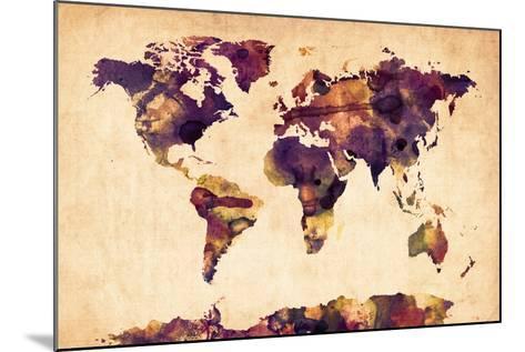 World Map Watercolor-Michael Tompsett-Mounted Art Print