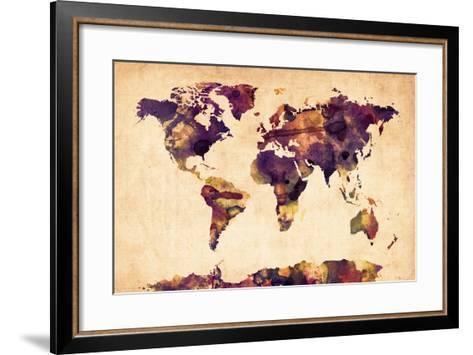 World Map Watercolor-Michael Tompsett-Framed Art Print