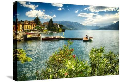 Varenna Harbor View On Lake Como-George Oze-Stretched Canvas Print