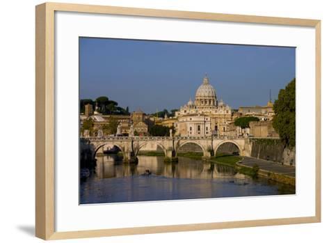 St Peters Rome Across River Tiber-Charles Bowman-Framed Art Print