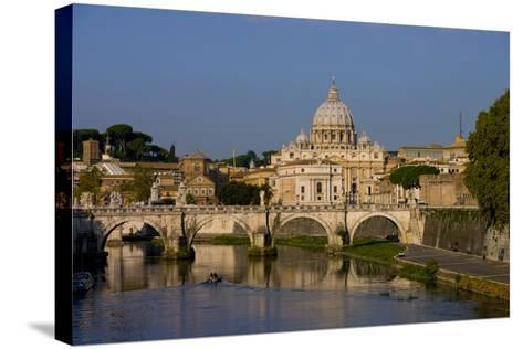 St Peters Rome Across River Tiber-Charles Bowman-Stretched Canvas Print