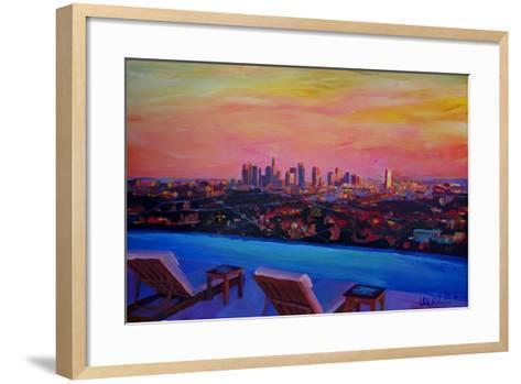 Los Angeles Infinity Skyline with Infinite View Pool-Markus Bleichner-Framed Art Print