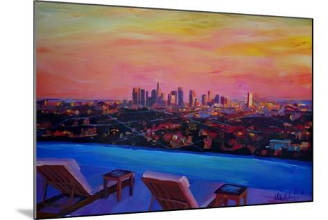 Los Angeles Infinity Skyline with Infinite View Pool-Markus Bleichner-Mounted Art Print