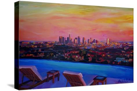 Los Angeles Infinity Skyline with Infinite View Pool-Markus Bleichner-Stretched Canvas Print