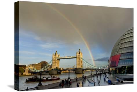 Tower Bridge Rainbow-Charles Bowman-Stretched Canvas Print