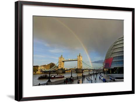 Tower Bridge Rainbow-Charles Bowman-Framed Art Print