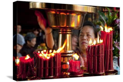 Candles In Longshan Temple Taipei-Charles Bowman-Stretched Canvas Print
