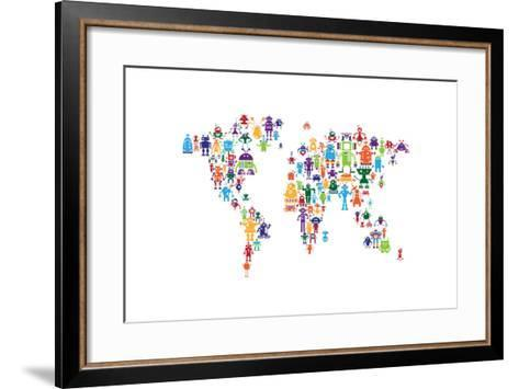 Robot Map of the World Map-Michael Tompsett-Framed Art Print