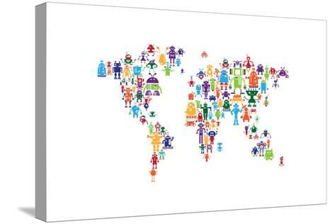 Robot Map of the World Map-Michael Tompsett-Stretched Canvas Print