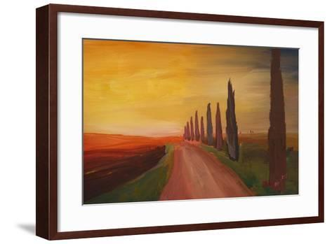 Tuscany Alley Way with Cypress at Dusk-Markus Bleichner-Framed Art Print