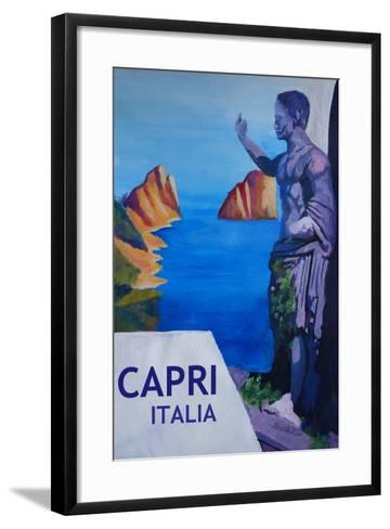 Capri view with Ancient Roman Empire Statue Poster-Markus Bleichner-Framed Art Print