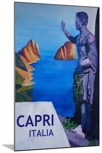 Capri view with Ancient Roman Empire Statue Poster-Markus Bleichner-Mounted Art Print