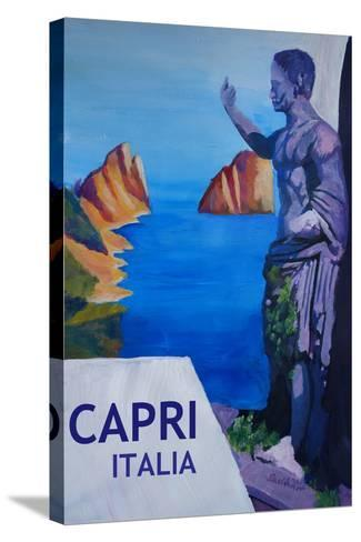 Capri view with Ancient Roman Empire Statue Poster-Markus Bleichner-Stretched Canvas Print