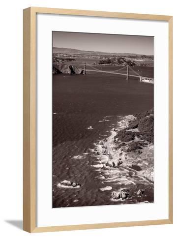Golden Gate Aloft BW-Steve Gadomski-Framed Art Print