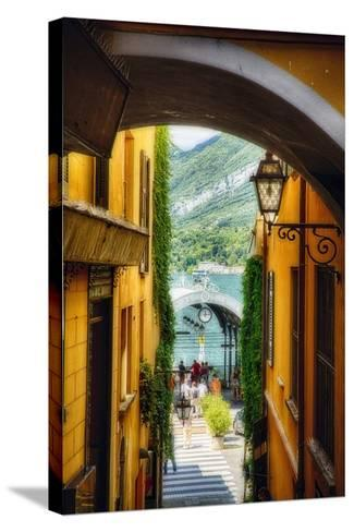 Alley With a Lake View, Bellagio, Lake Como, Italy-George Oze-Stretched Canvas Print