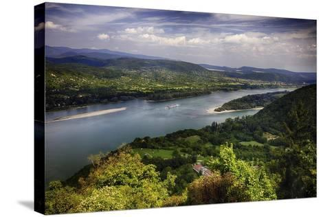 Danube River Scenic Panorma,Visegrad, Hungary-George Oze-Stretched Canvas Print