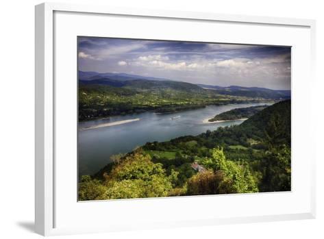 Danube River Scenic Panorma,Visegrad, Hungary-George Oze-Framed Art Print