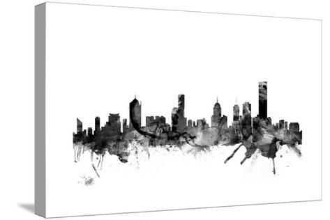 Melbourne Skyline-Michael Tompsett-Stretched Canvas Print