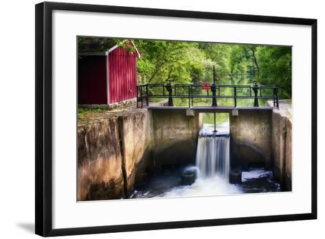 Lock on the D & R Canal, New Jersey-George Oze-Framed Art Print