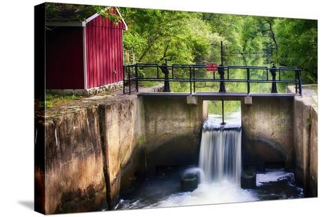 Lock on the D & R Canal, New Jersey-George Oze-Stretched Canvas Print