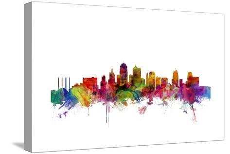 Kansas City Skyline-Michael Tompsett-Stretched Canvas Print