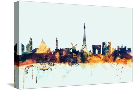Paris France Skyline-Michael Tompsett-Stretched Canvas Print