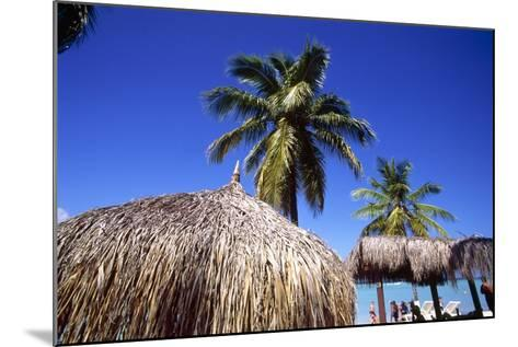 Palm Trees and Palapa Umbrellas Palm Beach Aruba-George Oze-Mounted Photographic Print