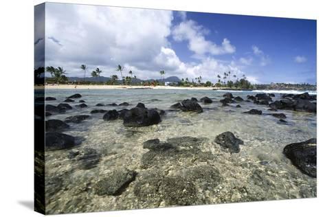 Lava Rocks of Poipu Beach Kauai Hawaii-George Oze-Stretched Canvas Print