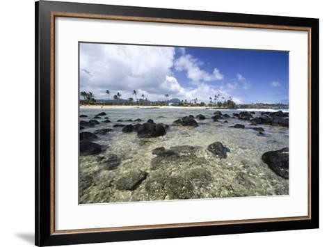 Lava Rocks of Poipu Beach Kauai Hawaii-George Oze-Framed Art Print