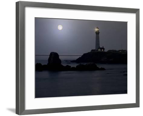 Pigeon Point Lighthouse At Full Moon-George Oze-Framed Art Print