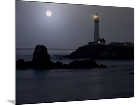 Pigeon Point Lighthouse At Full Moon-George Oze-Mounted Photographic Print
