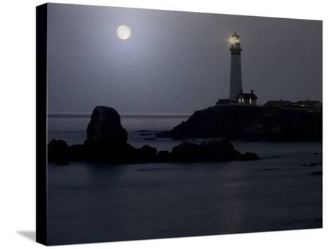 Pigeon Point Lighthouse At Full Moon-George Oze-Stretched Canvas Print