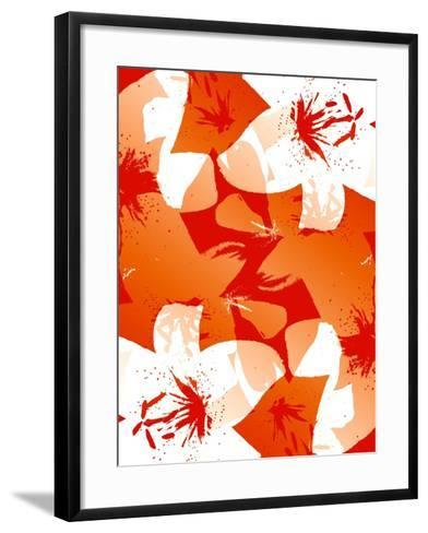 Orange And Red Lilies-Ruth Palmer-Framed Art Print