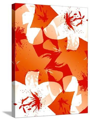 Orange And Red Lilies-Ruth Palmer-Stretched Canvas Print