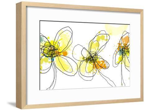 Three Yellow Flowers-Jan Weiss-Framed Art Print
