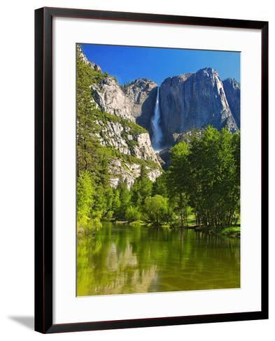 Yosemite Falls With The Merced River-George Oze-Framed Art Print