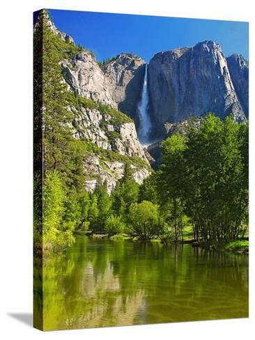 Yosemite Falls With The Merced River-George Oze-Stretched Canvas Print