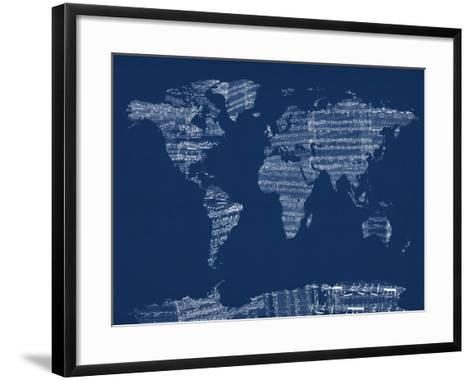 Map of the World Map from Old Sheet Music-Michael Tompsett-Framed Art Print