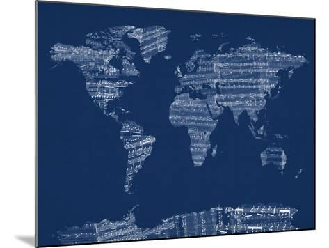 Map of the World Map from Old Sheet Music-Michael Tompsett-Mounted Art Print