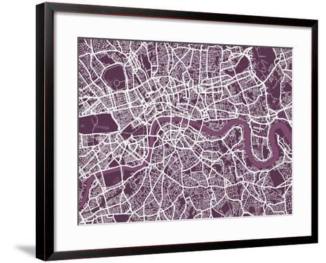 London England Street Map-Michael Tompsett-Framed Art Print