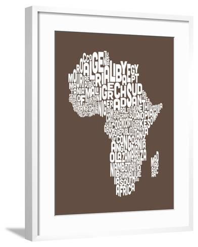 Map of Africa Map, Text Art-Michael Tompsett-Framed Art Print