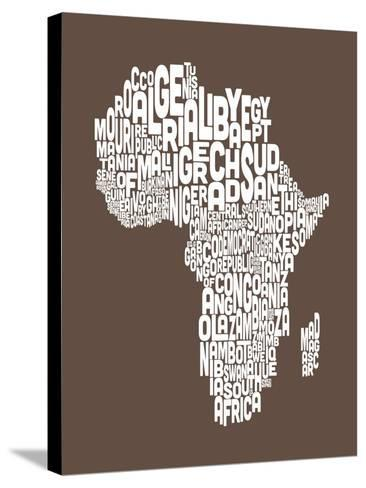 Map of Africa Map, Text Art-Michael Tompsett-Stretched Canvas Print