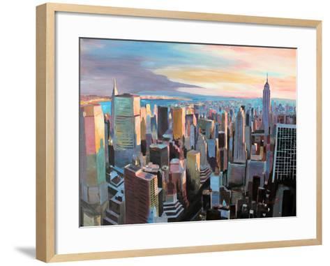 New York City - Manhattan Skyline in Warm Sunlight-Markus Bleichner-Framed Art Print
