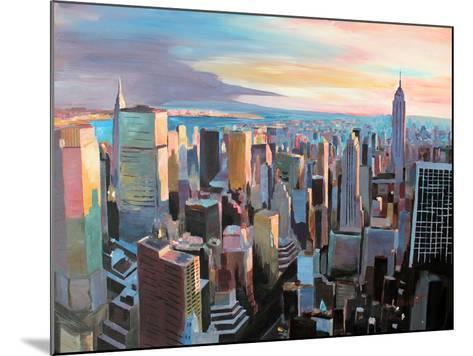 New York City - Manhattan Skyline in Warm Sunlight-Markus Bleichner-Mounted Art Print