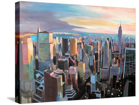 New York City - Manhattan Skyline in Warm Sunlight-Markus Bleichner-Stretched Canvas Print