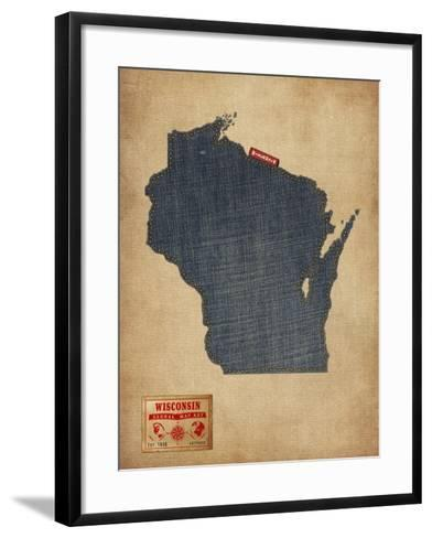Wisconsin Map Denim Jeans Style-Michael Tompsett-Framed Art Print