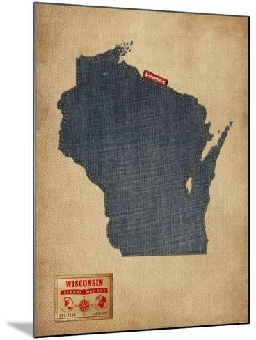 Wisconsin Map Denim Jeans Style-Michael Tompsett-Mounted Art Print